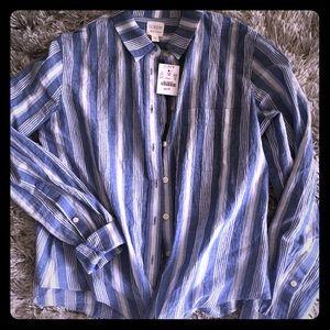 J Crew blue and white striped cotton shirt w/ tie